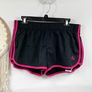 NWT Adidas black pink striped running shorts